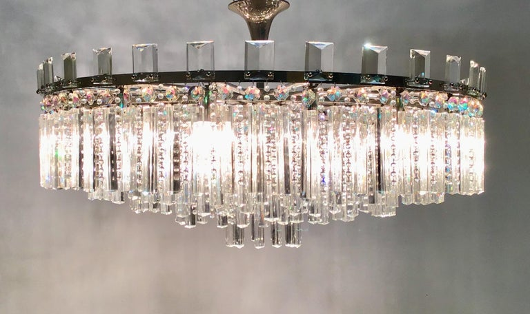 Patinated Exceptional Cut Crystal Chandelier by Bakalowits, Austria, circa 1950s For Sale