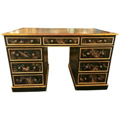 Exceptional Double Pedestal Chinoiserie/Japanned Desk, 19th Century