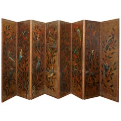 Pair of Exceptional Dutch Embossed and Painted Leather Folding Screens