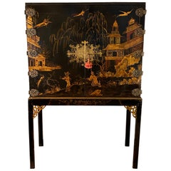 Exceptional Early 19th Century Chinoiserie Lacquer Cabinet on Stand