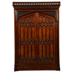 Exceptional Early 19th Century English Gothic Wardrobe in Mahogany