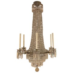 Exceptional Early 20th Century American Crystal Six Light Gasolier or Chandelier