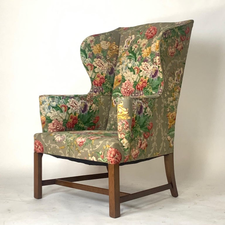 Exceptional Early American Wingback Chairs with Stunning Floral Upholstery For Sale 5