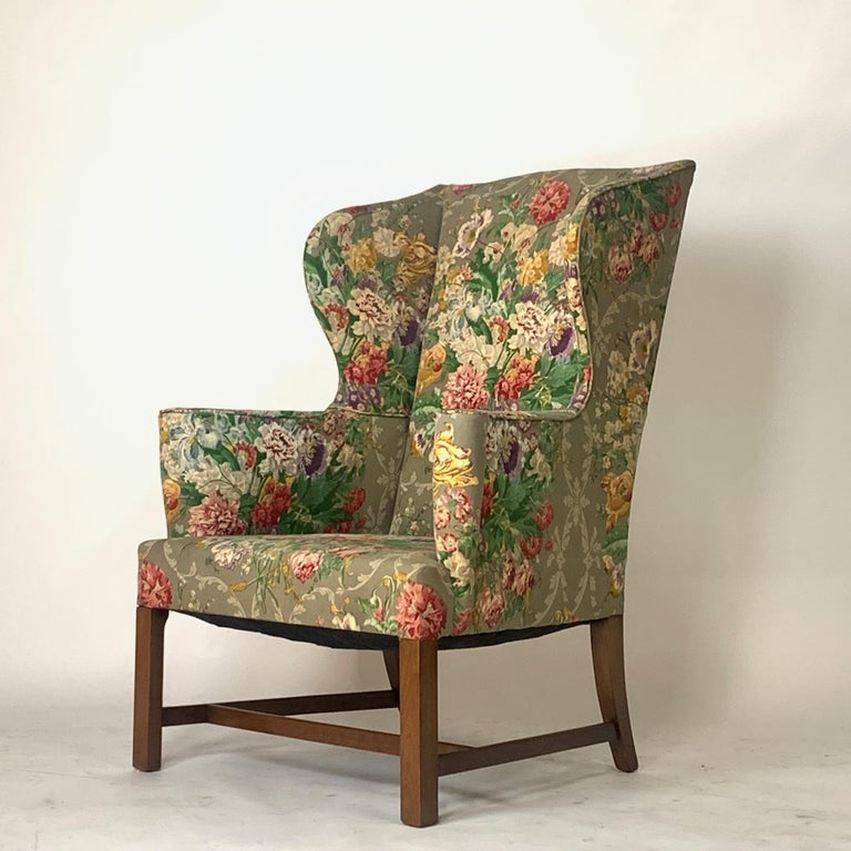 Exceptional Early American Wingback Chairs with Stunning Floral Upholstery For Sale 6