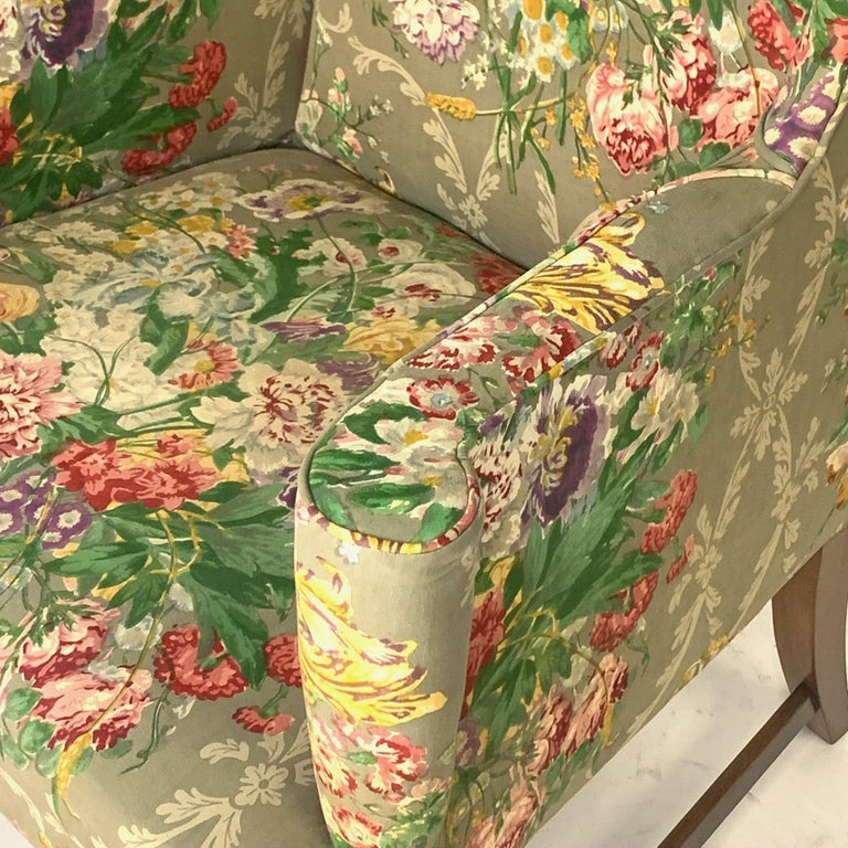 Exceptional Early American Wingback Chairs with Stunning Floral Upholstery For Sale 7