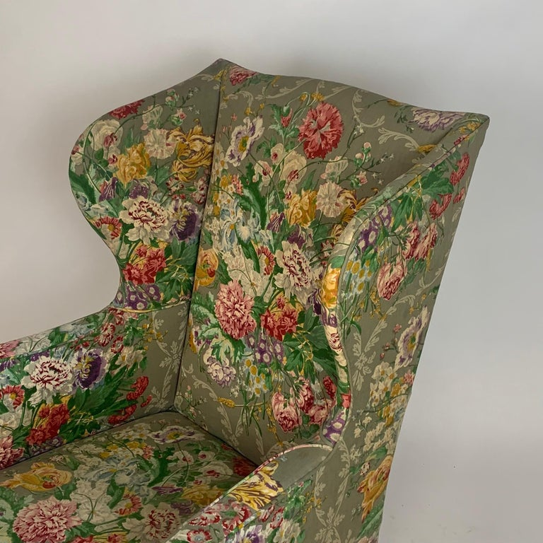 Exceptional Early American Wingback Chairs with Stunning Floral Upholstery For Sale 8