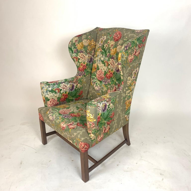 Exceptional Early American Wingback Chairs with Stunning Floral Upholstery For Sale 9
