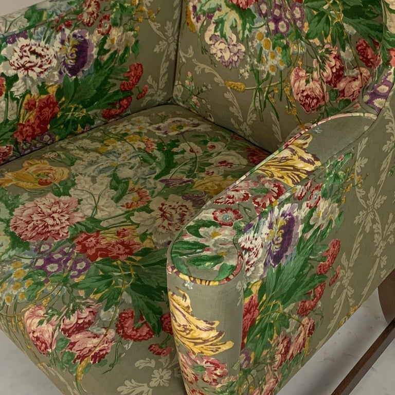 Exceptional Early American Wingback Chairs with Stunning Floral Upholstery For Sale 10