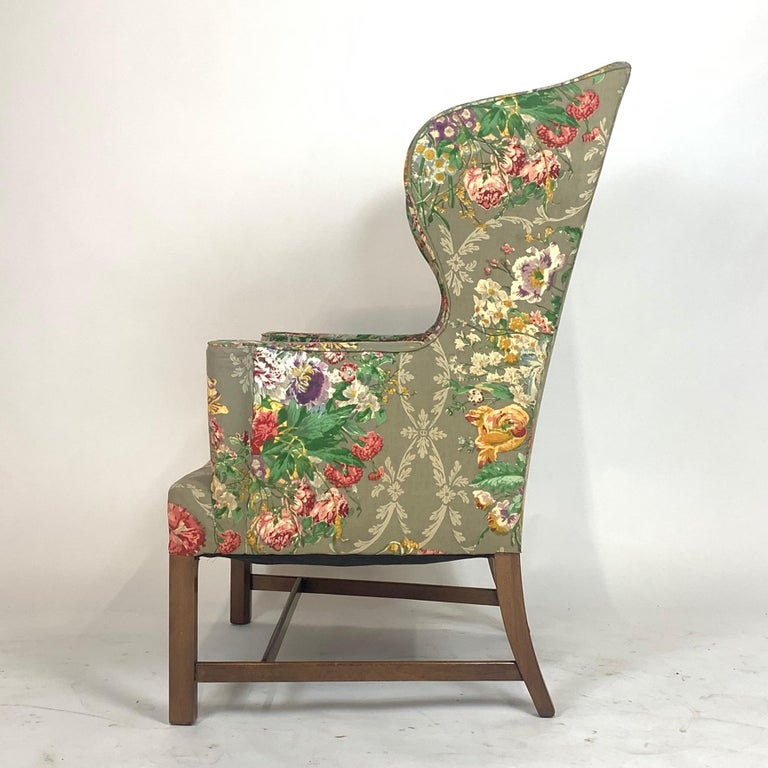 Exceptional Early American Wingback Chairs with Stunning Floral Upholstery For Sale 11