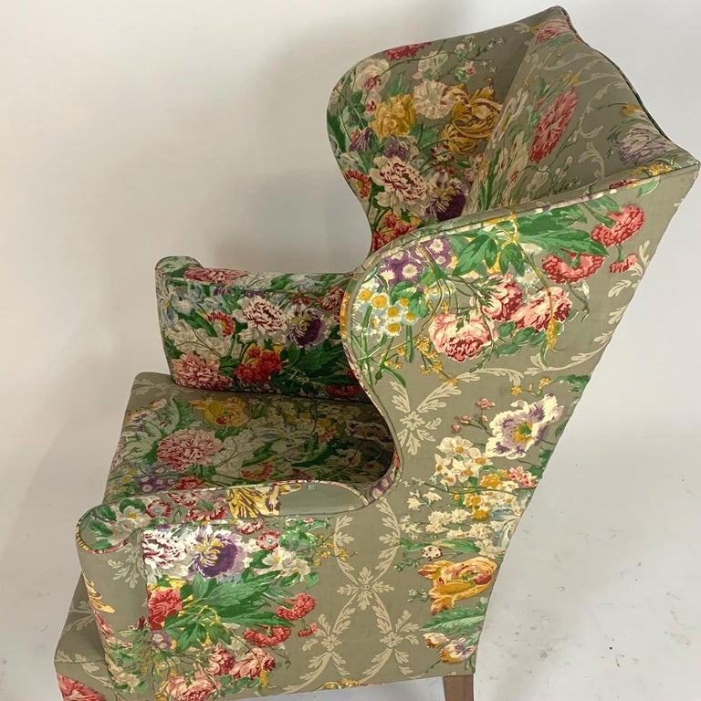 Exceptional Early American Wingback Chairs with Stunning Floral Upholstery For Sale 12
