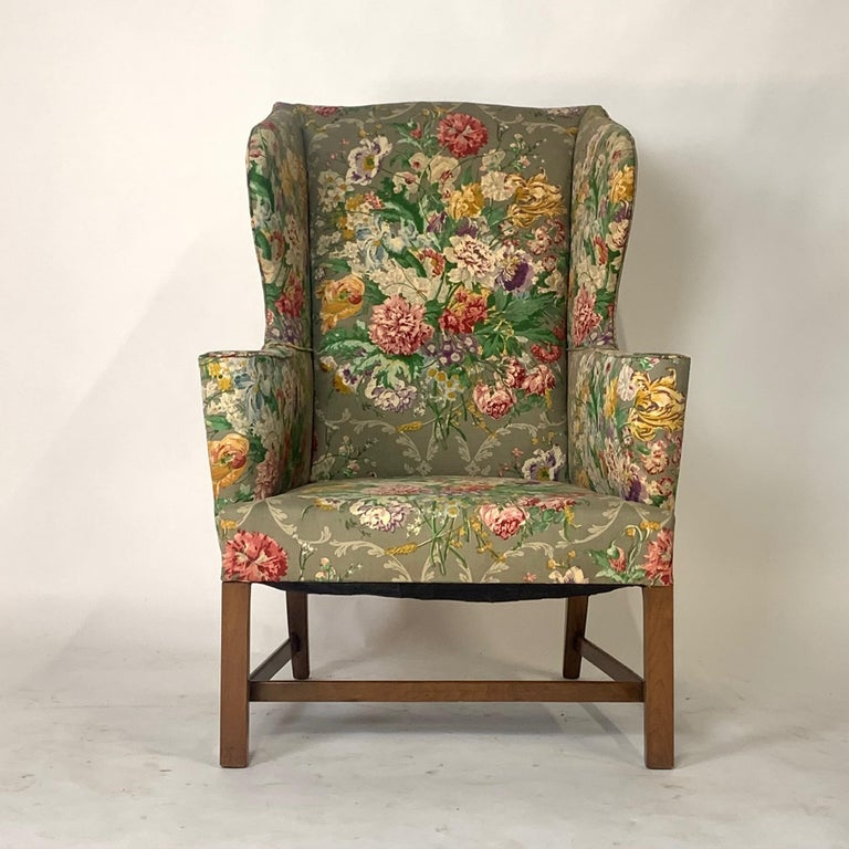 Chippendale Exceptional Early American Wingback Chairs with Stunning Floral Upholstery For Sale