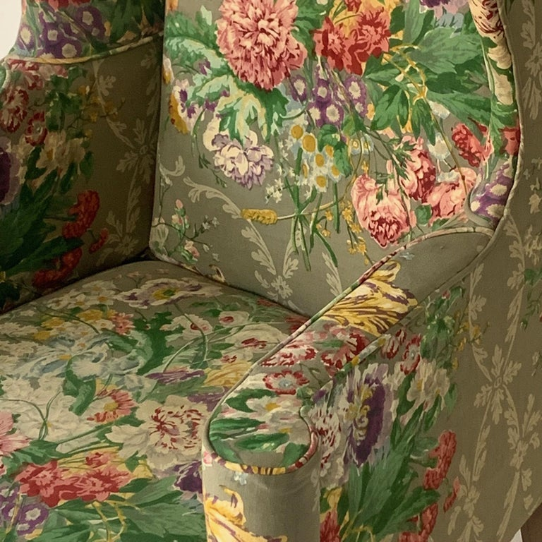 20th Century Exceptional Early American Wingback Chairs with Stunning Floral Upholstery For Sale