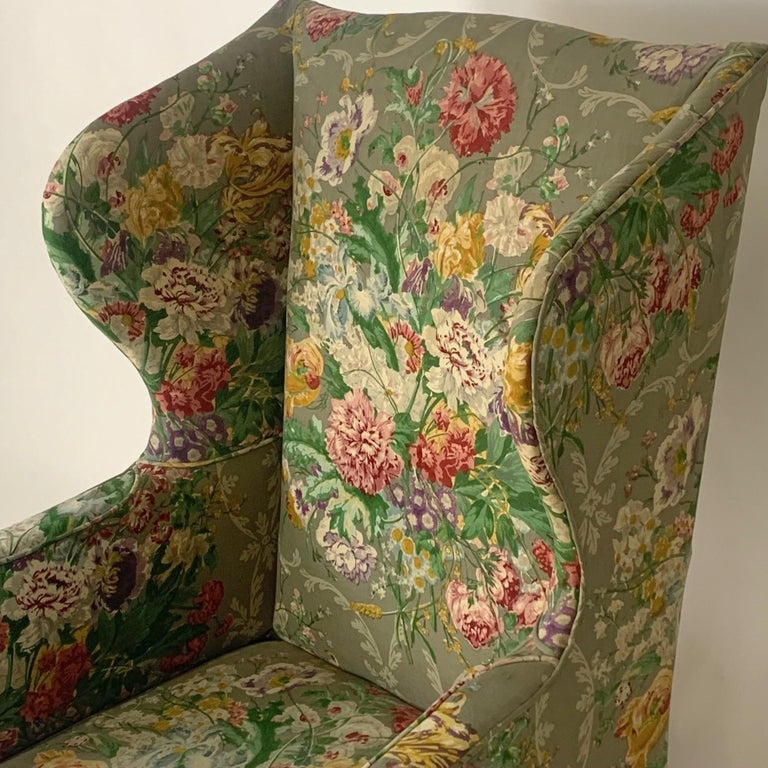 Exceptional Early American Wingback Chairs with Stunning Floral Upholstery For Sale 1