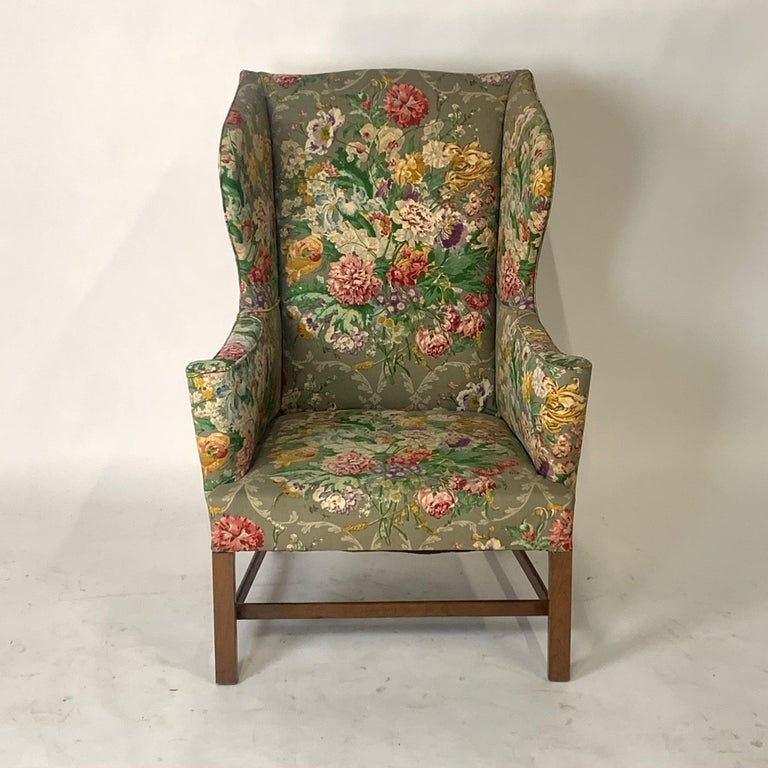 Exceptional Early American Wingback Chairs with Stunning Floral Upholstery For Sale 2
