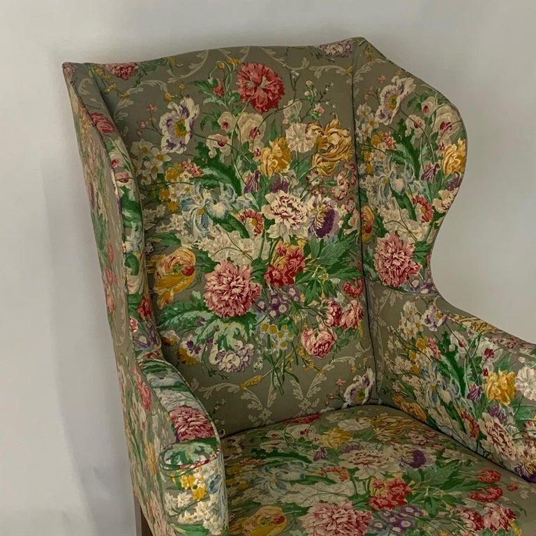 Exceptional Early American Wingback Chairs with Stunning Floral Upholstery For Sale 3