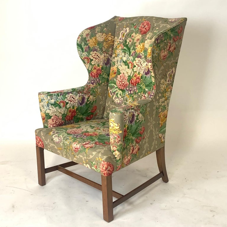 Exceptional Early American Wingback Chairs with Stunning Floral Upholstery For Sale 4