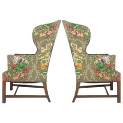 Exceptional Early American Wingback Chairs with Stunning Floral Upholstery