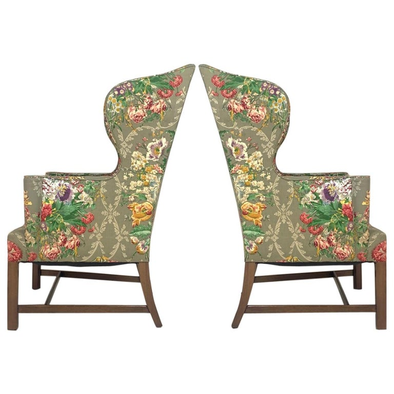 Exceptional Early American Wingback Chairs with Stunning Floral Upholstery For Sale