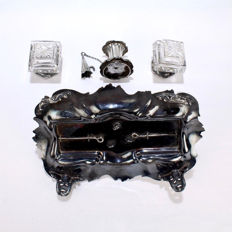 Exceptional Early Victorian English Sterling Silver Inkstand by Henry Wilkinson For Sale 6