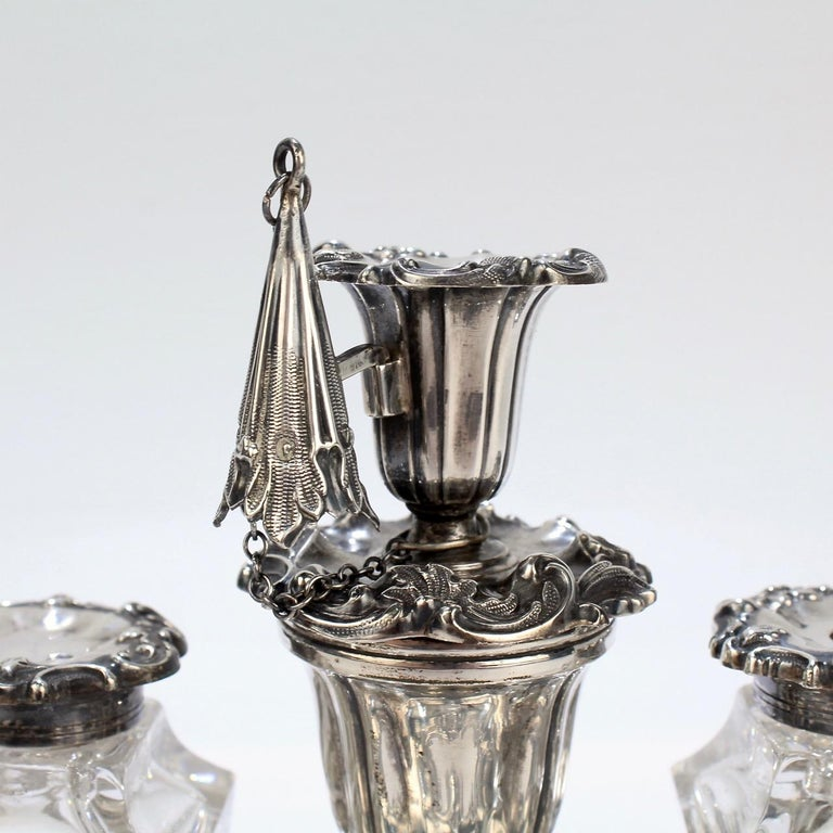Exceptional Early Victorian English Sterling Silver Inkstand by Henry Wilkinson For Sale 7