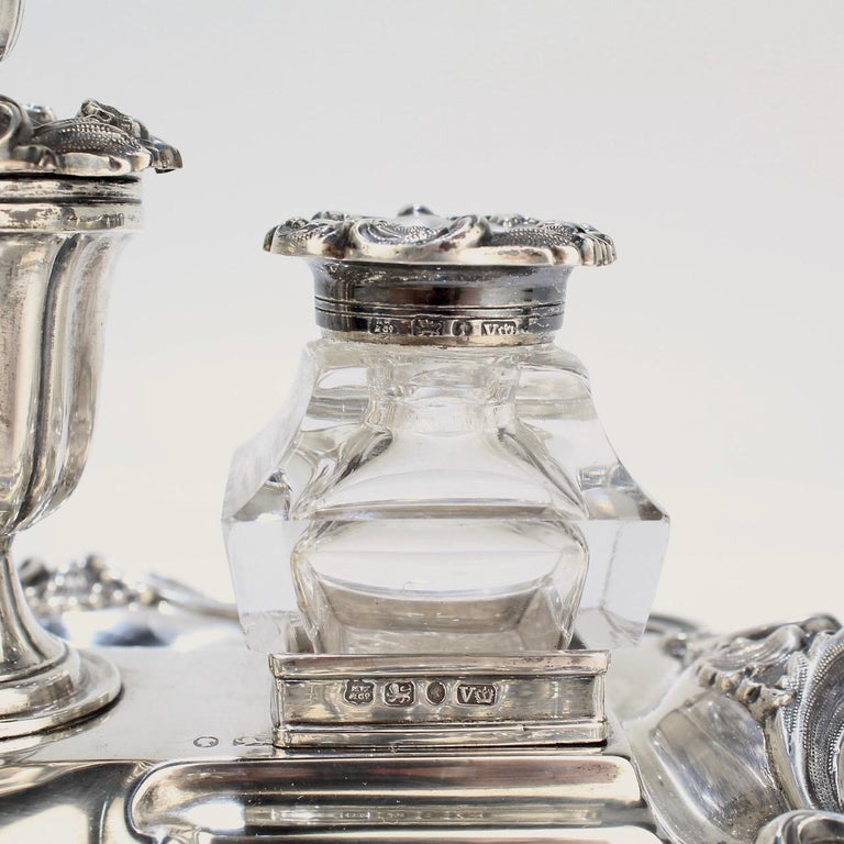 Exceptional Early Victorian English Sterling Silver Inkstand by Henry Wilkinson For Sale 9