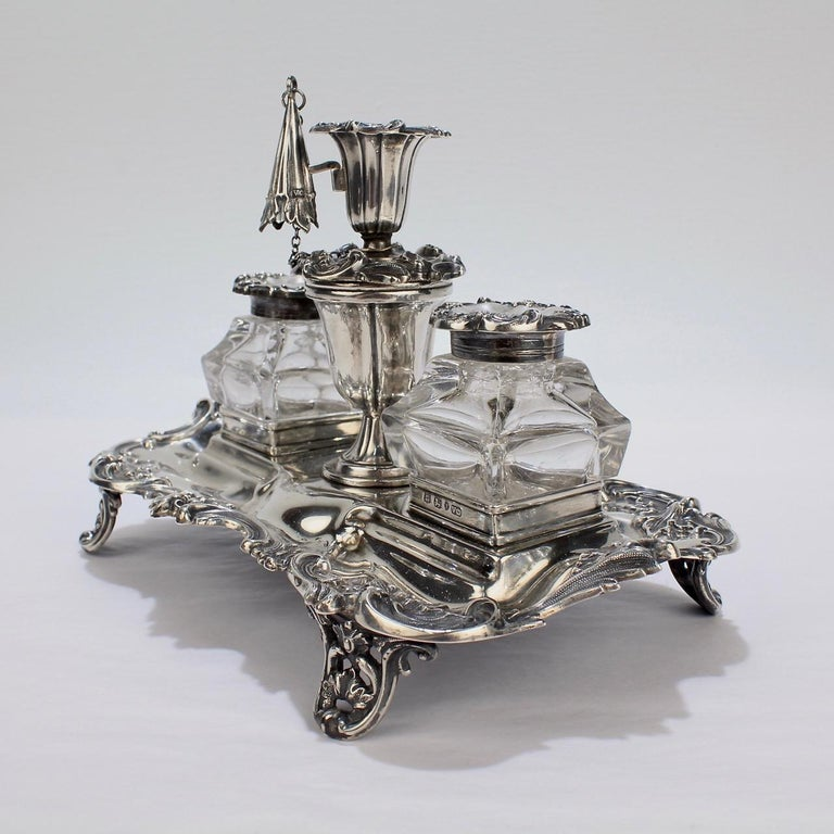 Exceptional Early Victorian English Sterling Silver Inkstand by Henry Wilkinson For Sale 1