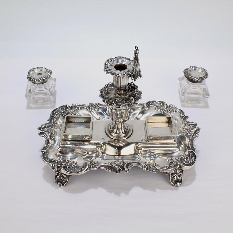 Exceptional Early Victorian English Sterling Silver Inkstand by Henry Wilkinson For Sale 4
