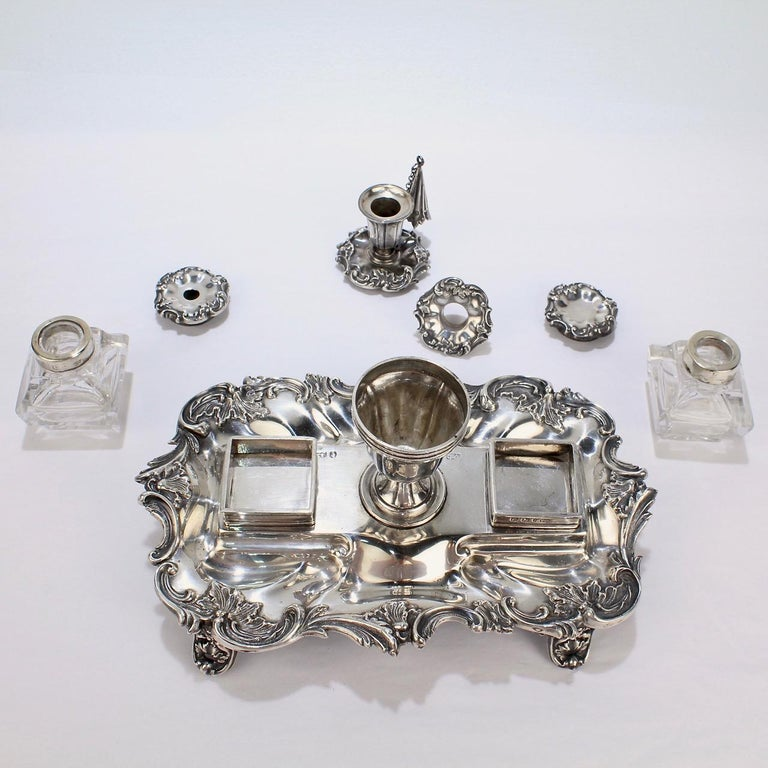 Exceptional Early Victorian English Sterling Silver Inkstand by Henry Wilkinson For Sale 5