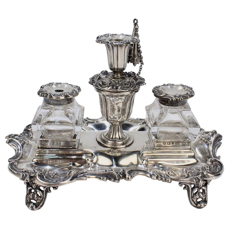 Exceptional Early Victorian English Sterling Silver Inkstand by Henry Wilkinson For Sale