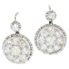 Außergewöhnliche Edwardische 4,09 Karat Alter Minenschliff Diamant Platin Tropfen Ohrringe