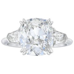 EGL Certified Old Mine Cushion Cut Ring E Color