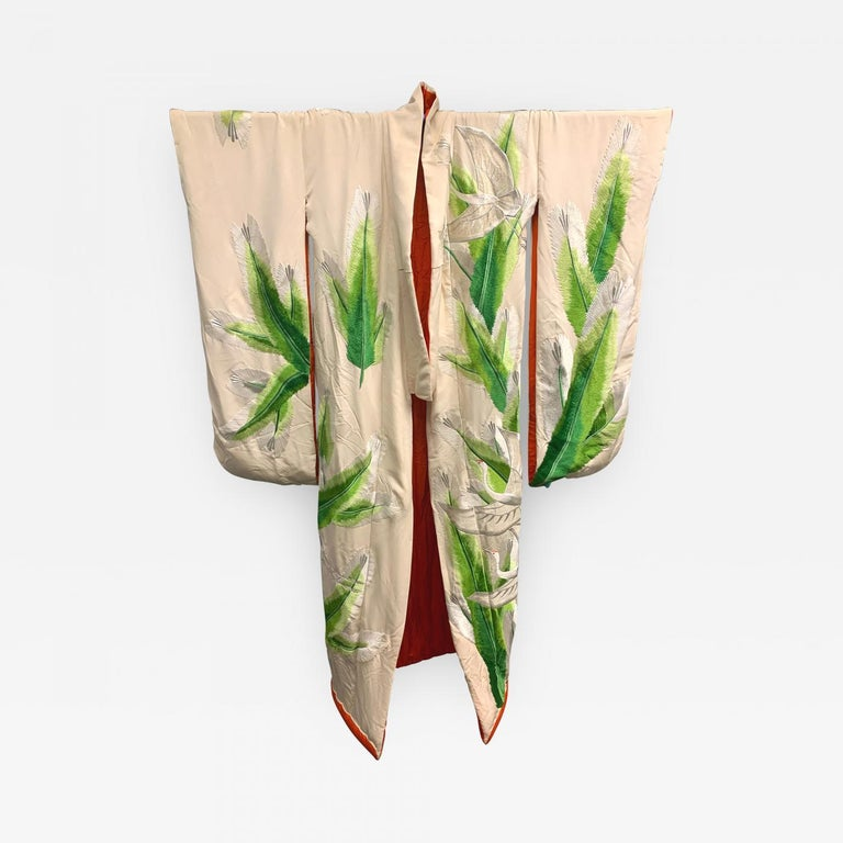 Japonisme Exceptional Embroidered Brocade Vintage Japanese Ceremonial Kimono For Sale