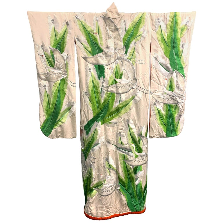 Exceptional Embroidered Brocade Vintage Japanese Ceremonial Kimono For Sale