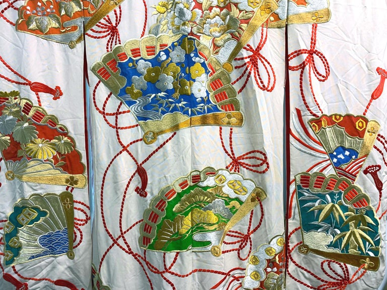 Japonisme Exceptional Embroidered Vintage Japanese Ceremonial Kimono For Sale