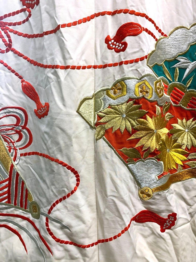Cotton Exceptional Embroidered Vintage Japanese Ceremonial Kimono For Sale