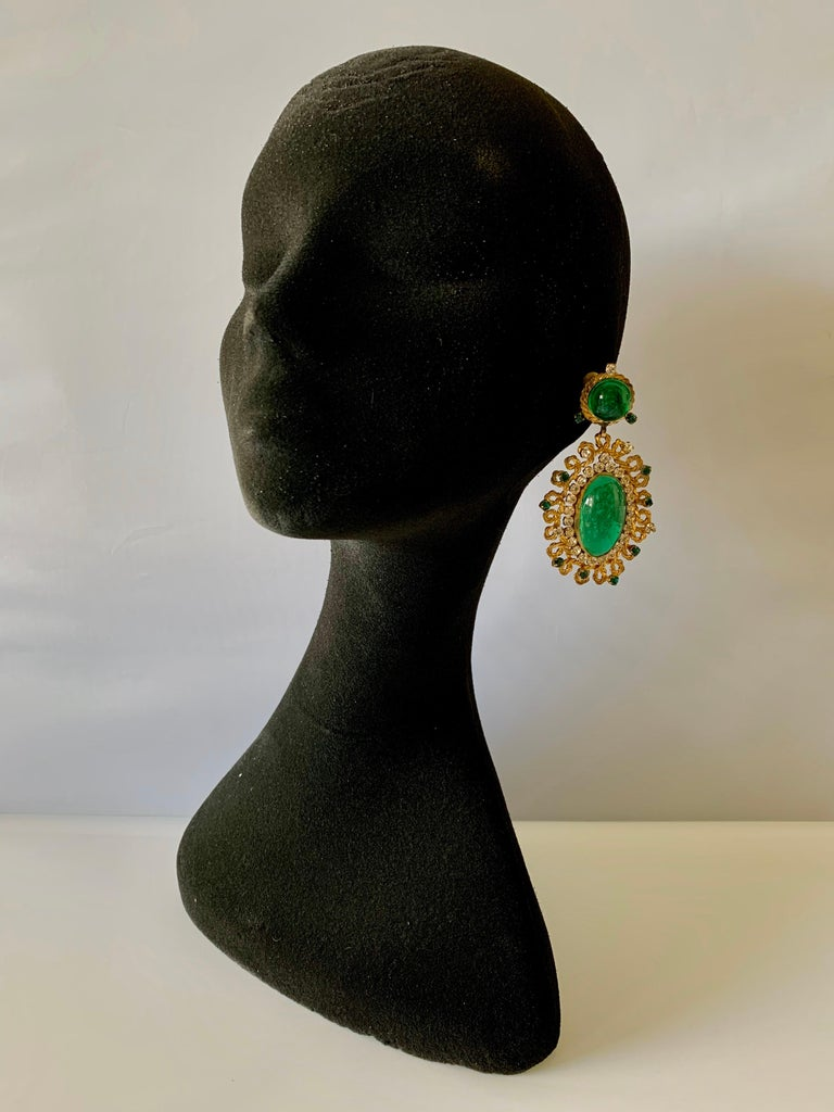 Baroque Exceptional Emerald and Diamante Statement Earrings by Maison Gripoix for Chanel For Sale