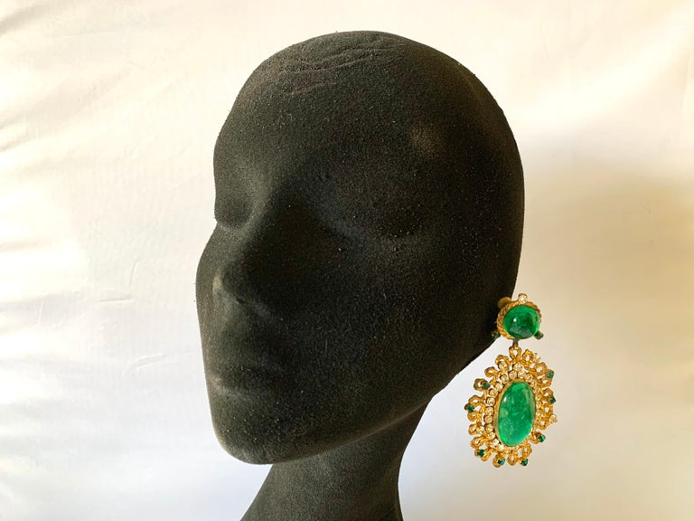 Exceptional Emerald and Diamante Statement Earrings by Maison Gripoix for Chanel In Excellent Condition For Sale In Palm Springs, CA