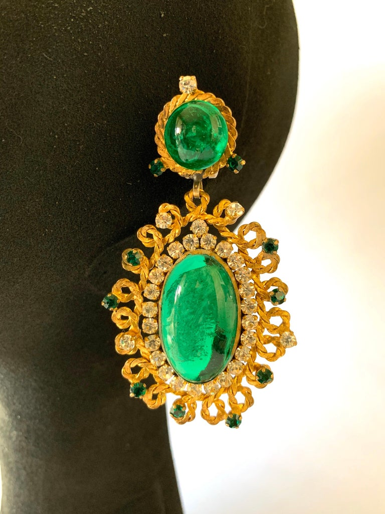 Women's Exceptional Emerald and Diamante Statement Earrings by Maison Gripoix for Chanel For Sale