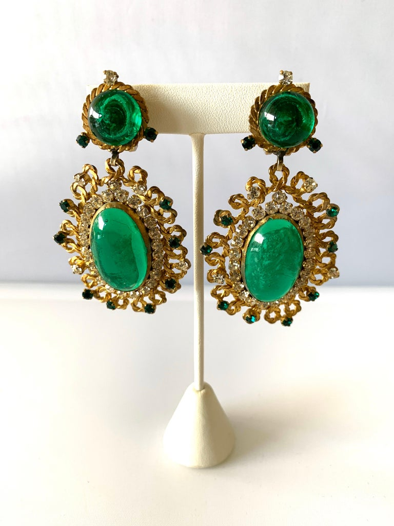 Exceptional Emerald and Diamante Statement Earrings by Maison Gripoix for Chanel For Sale 1