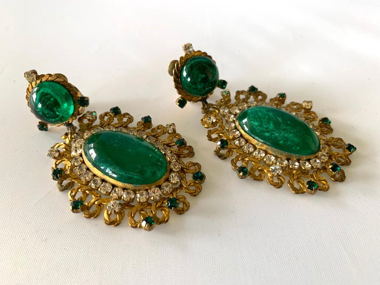 Exceptional Emerald and Diamante Statement Earrings by Maison Gripoix for Chanel For Sale 2