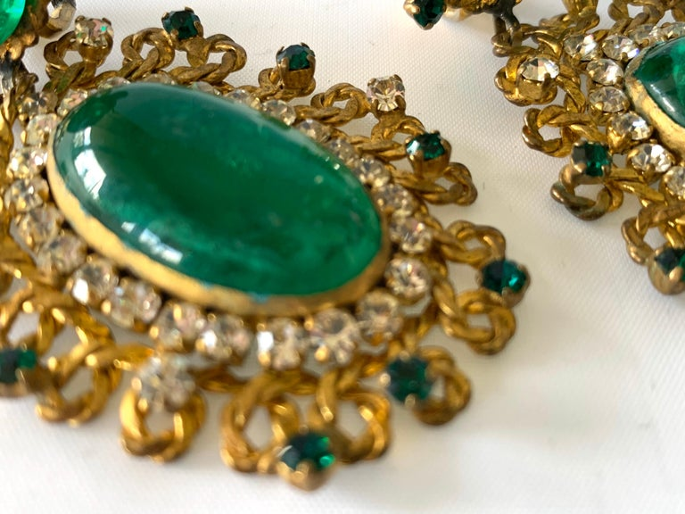 Exceptional Emerald and Diamante Statement Earrings by Maison Gripoix for Chanel For Sale 3