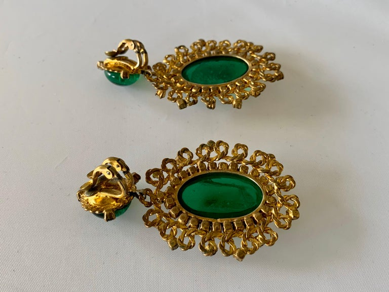 Exceptional Emerald and Diamante Statement Earrings by Maison Gripoix for Chanel For Sale 4