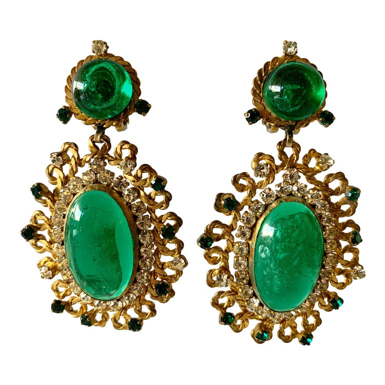 Exceptional Emerald and Diamante Statement Earrings by Maison Gripoix for Chanel For Sale