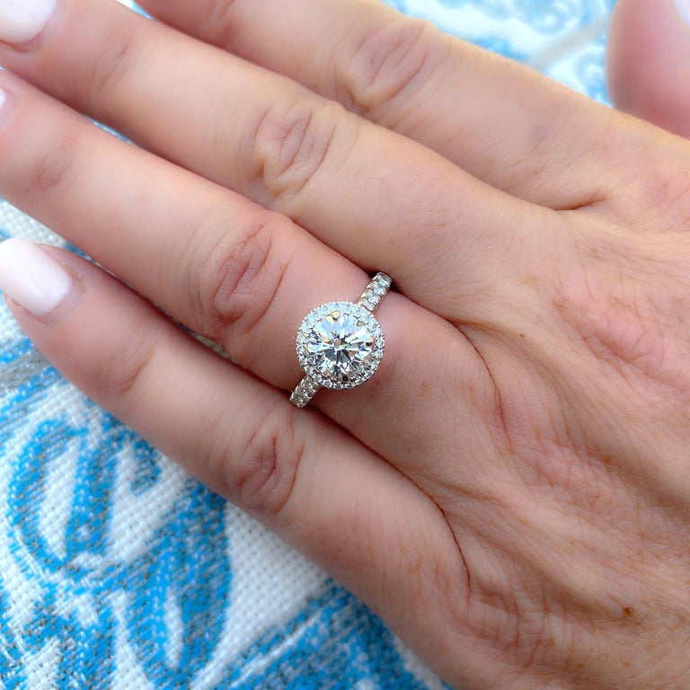 Round Cut Exceptional Estate Diamond Platinum Engagement Ring by Cartier For Sale