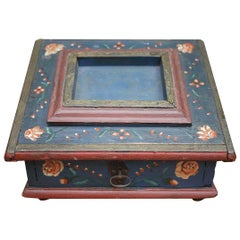 Exceptional European Painted Jewelry Sewing Box, 18th Century