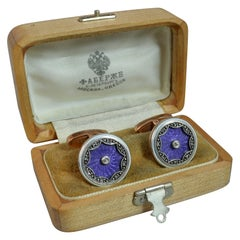 Exceptional Faberge 14 Carat Rose Gold Lilac Enamel and Diamond Cufflinks
