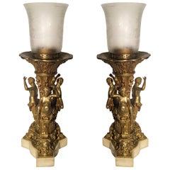 Exceptional Figural Gilt Bronze Lamps, circa 1890s
