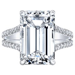 Exceptional Flawless D Color GIA Certified 10 Carat Emerald Cut Diamond Ring