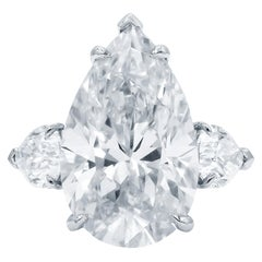 Exceptional Flawless Type 2A GIA Certified 4.61 Carat Pear Cut Diamond Ring