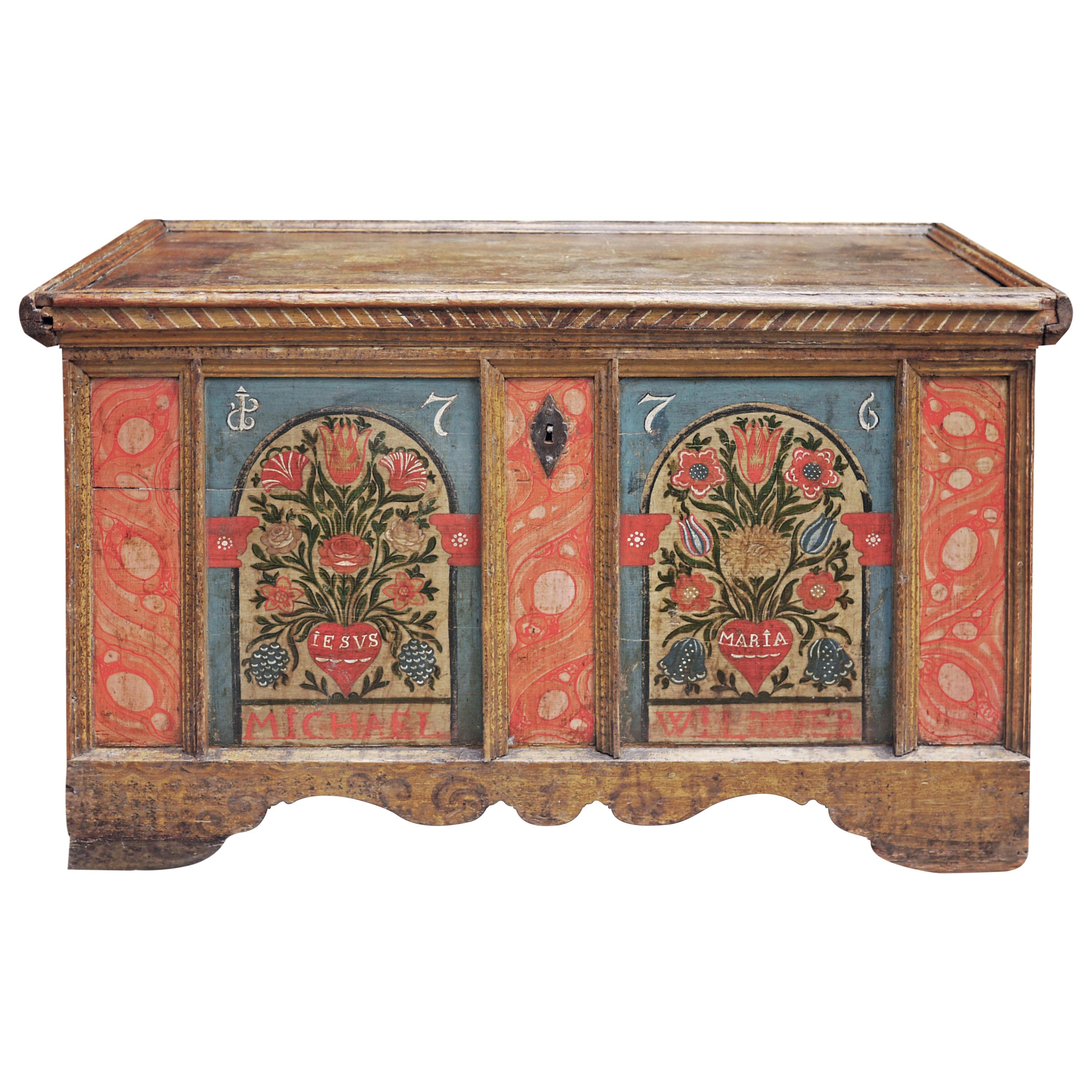 Exceptional Floral Painted Blue and Red Blanket Chest, Alps 1776 - Original